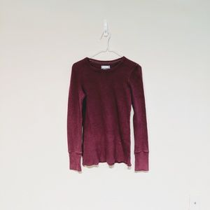 Aerie deep pink waffle textured thermal shirt M